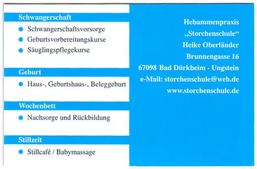 Visitenkarten Hebamme Pfalz